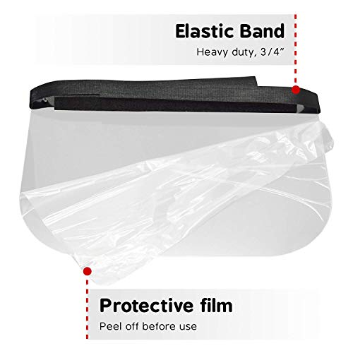 KlearStand 2 Pack Reusable Full Face Shield, One Size Fits All, Anti-Fogging Ultra-Clear Polycarbonate, Adjustable Strap, Extra Large Splash Guard, Made and Ships from USA
