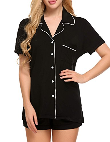 Ekouaer Slip Pajama Set Womens Short Sleepping Wear Set(Black, Medium)
