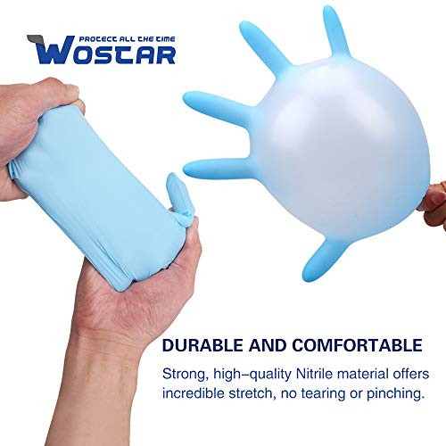 Wostar Nitrile Disposable Gloves 2.5 Mil Pack of 100, Latex Free Safety Working Gloves for Food Handle or Industrial Use