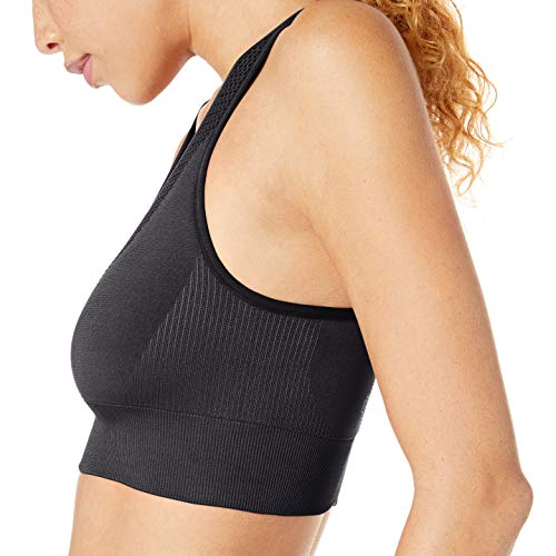Amazon Brand - Core 10 Women's Seamless Yoga Racerback Sports Bra, Black, X-Small