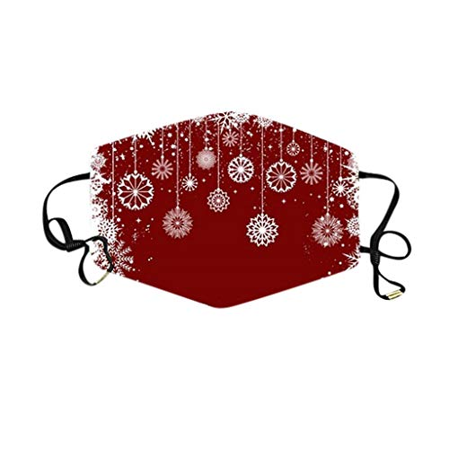 Adults Reusable Christmas Face Mask, Santa Elk Holiday Face Mask, Washable Face Covering Bandanas Earloop Mouth Masks for Men and Women (O/9PC)