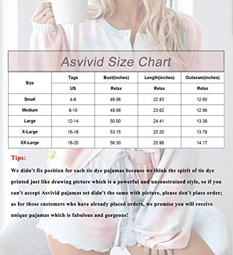 Asvivid Womens Tie Dye Printed Ruffle Lounge Set Juniors Pajamas Set Sleepwear Short Sets Summer Nightwear M Orange