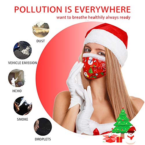 Christmas Disposable Face Mask for Women Man Red Cane Christmas Face Masks Disposable for Adult Christmas Face Masks Holiday Design Face Mask 50pcs 3Layer Breathable Protection Layer (adult red)