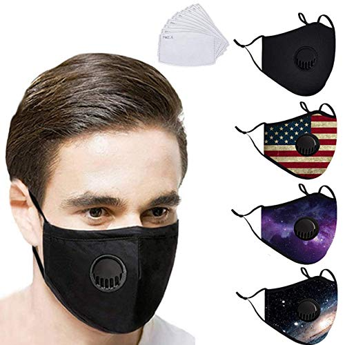 4Pcs Reusable Washable Unisex Cloth Face Bandanas with Breathing valve and 20Pcs Replaceable Protection Filters for Adults