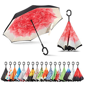 Sharpty Inverted Umbrella, Umbrella Windproof, Reverse Umbrella, Umbrellas for Women, Upside Down Umbrella with C-Shaped Handle (Red Lotus)
