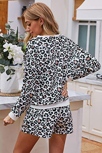 PRETTYGARDEN Women's Tie Dye Printed Pajamas Set Long Sleeve Tops With Shorts Lounge Set Casual Two-Piece Sleepwear (BW-Black, Large)
