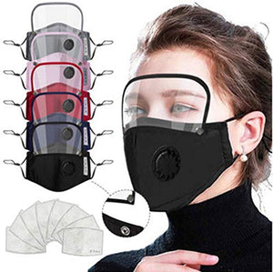 6 Pack Protective Covers with 20 Cotton Filter Sheet,Washable Reusable Protection Cover with Protective Glasses Breathing Valve