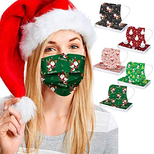 50PC 3Ply Adult Disposable Nonwoven Christmas Pattern Print Face_Mask,Protective Face Covering Fashion Balaclava Women