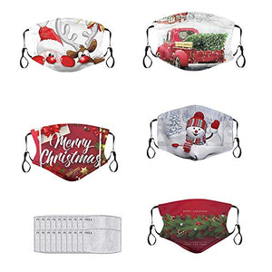 ATRISE Christmas Face Masks for Women,Unisex Adult Cloth+Face+Mask+Washable Santa Claus,Snow Print Mouth Mask Cloth