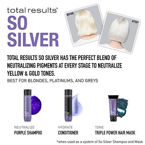 MATRIX Total Results So Silver Color Depositing Purple Shampoo For Neutralizing Yellow Tones | Tones Blonde & Silver Hair | For Color Treated Hair | 10.1 Fl. Oz.