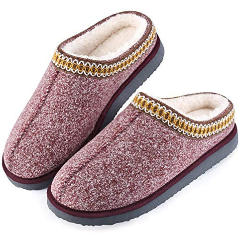 Homitem Women's Cozy Memory Foam Slippers Wool-Like Plush Fleece Lined House Shoes Ladies Slippers Indoor, Outdoor Comfy Slippers for Women Black Grey Wine Red Women's Slippers(9-10 L US,Wine Red