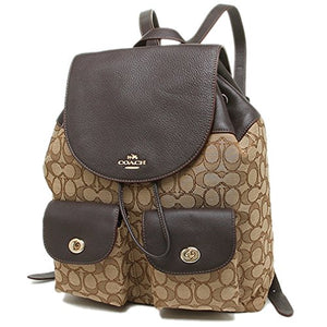 Coach F54795 Billie Backpack In Outline Signature Leather Gold/Khaki/Brown