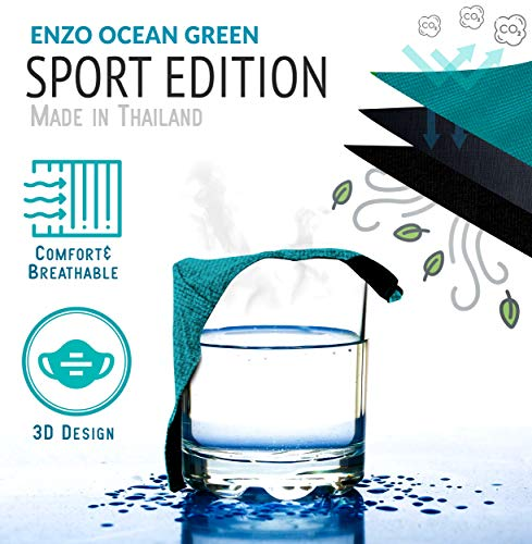 Enzo Sport-Edition Ocean Green Face 𝖬𝖺𝗌𝗄𝗌 (Pack of 2) Polyester & Aegas-Microbrand Tech Cotton Fits Most Faces with Adjustable Ear Loops, Washable & Reusable Upto 30 Times