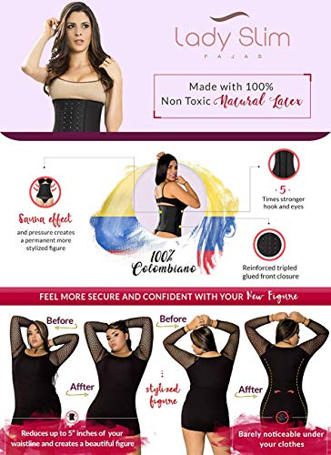 LadySlim by NuvoFit Lady Slim Fajas Colombiana Latex Waist Trainer Cincher Trimmer Corset Weight Loss Shaper Black V2 S