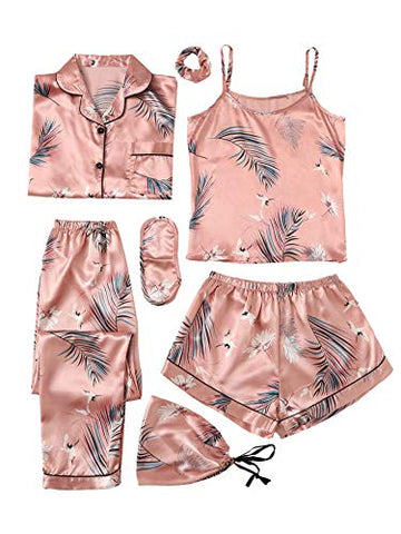 SheIn Women's 7pcs Pajama Set Cami Pjs with Shirt and Eye Mask Pink Crane X-Large
