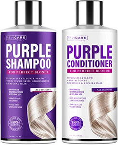 Purple Shampoo and Conditioner Set - Blonde Shampoo - Made in USA - Purple Hair Silver Shampoo - Hair Toner Shampoo & Conditioner for Brassy Hair - Purple Toning Shampoo & Overtone Conditioner