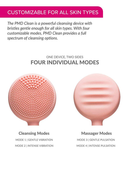 PMD Clean - Smart Facial Cleansing Device with Silicone Brush & Anti-Aging Massager - Waterproof - SonicGlow Vibration Technology - Lift, Firm, and Tone Skin on Face and Body - Blush