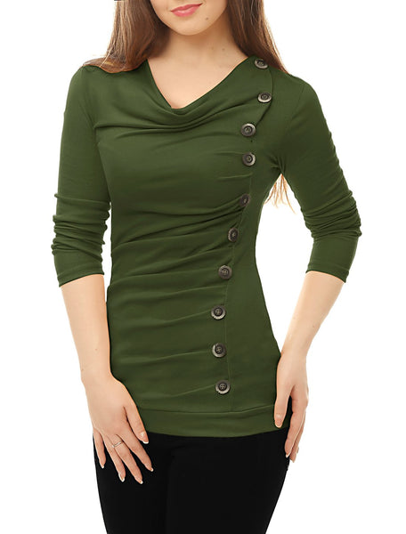 Allegra K Women's Cowl Neck Long Sleeves Buttons Decor Ruched Top Green XL (US 18)