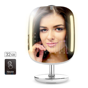 HiMirror Mini 32G. Beauty Mirror, with double memory capacity, smart vanity makeup mirror with skin analyzer, 2 x 3 magnifier mirror, mirror with LED makeup lights.