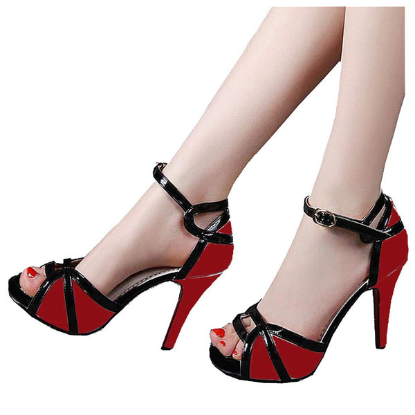 getmorebeauty Women's Vintage Red and Black Peep Toes Dress Shoes High Heels Ladies Open Toe Party Pumps Buckle Sandals 7 B(M) US