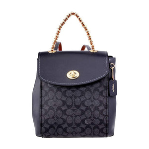 COACH Women's Coated Canvas Signature Parker Backpack Gold/Charcoal Midnight Navy One Size