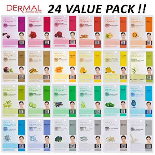 DERMAL 24 Combo Pack Collagen Essence Full Face Facial Mask Sheet