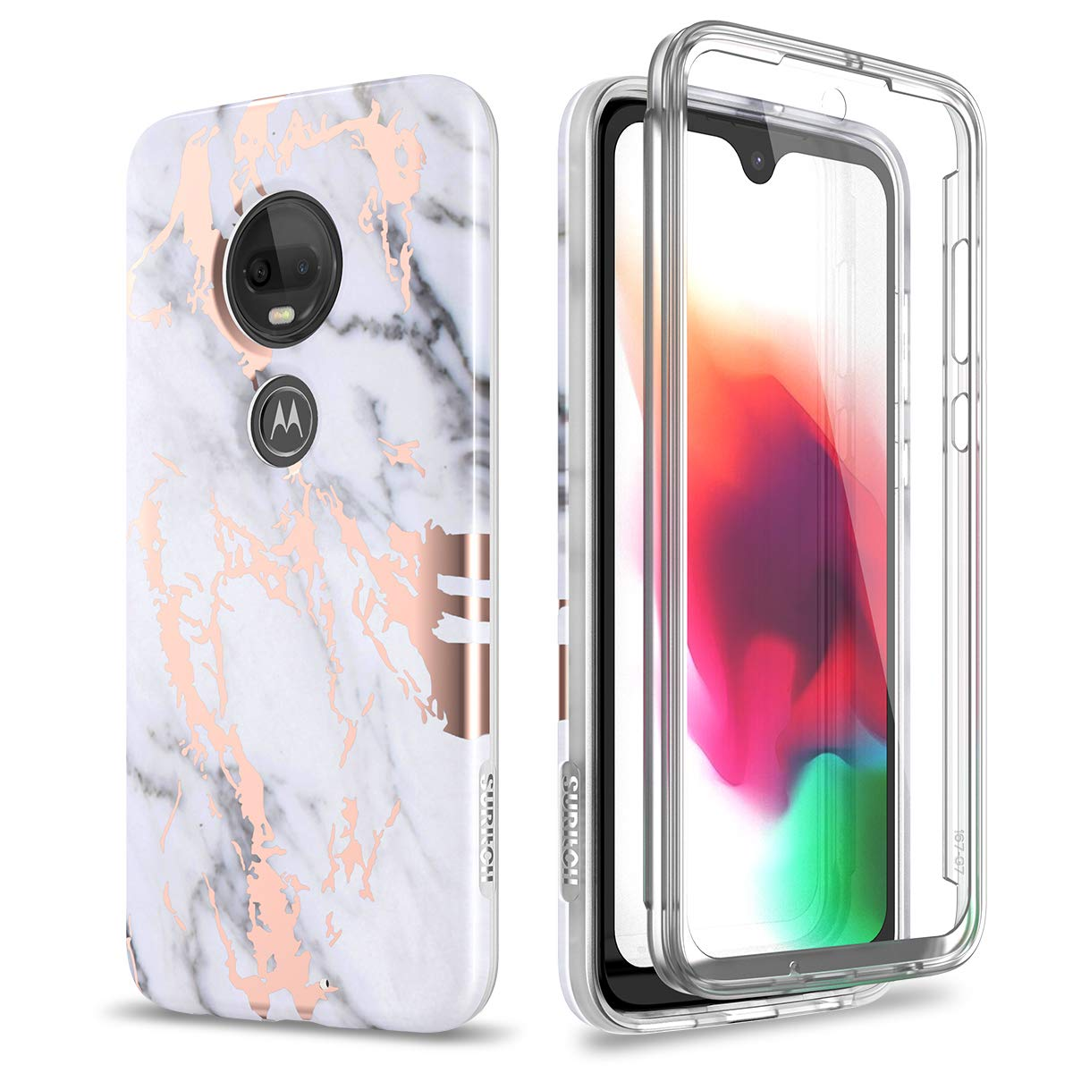 Case for Moto G7 / Moto G7 Plus,[Built-in Screen Protector] Rose Gold
