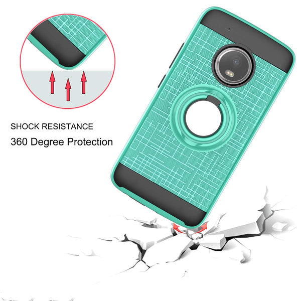 Compatible for Moto G5 Plus Phone Case,Moto X 2017 Case,LDStars[HD Screen Protector] TPU & PC Heavy Duty Shockproof Protective Cover with Rotatable Ring Stand-Mint Green