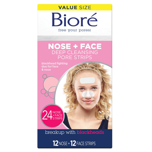 Bioré Blackhead Removing and Pore Unclogging Deep Cleansing Pore Strip for Nose, Chin, and Forehead (24 Count) (Packaging May Vary)