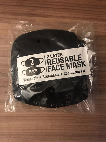 2 Pack Cotton Face Mask Reuseable Washable in Black White S/M Made in USA.