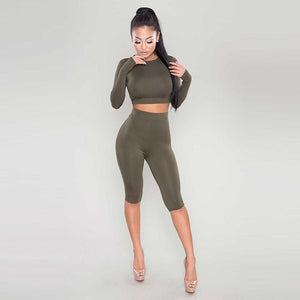 2 Piece Set Women Sexy Long Sleeve Top+Biker Shorts Track Suit Bodycon Tracksuit Casual Two Pieces Outfits Tight Sweatsuit