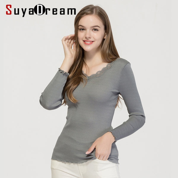 SuyaDream V neck RIB Tight Pullovers 70%Silk 30%Cotton Lace Collar Women Bottoming Sweaters 2019 Autumn Winter Knitwear