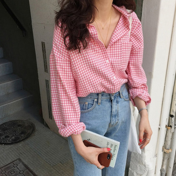 Colorfaith New 2020 Women Spring Summer Blouse Shirts Plaid Fashionable Single Breasted Casual Loose Wild Sweet Pink Tops BL023