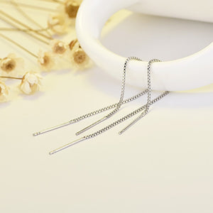 Simple Bar Long Tassel Chain Drop Dangle Earrings Silver Gold Color