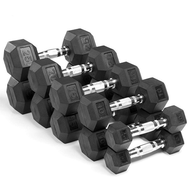 Hex Chromed Dumbbell Rubber Dumbbells Gym Strength Fitness Equipment Manufacturers for Household Personal Trainer Studio