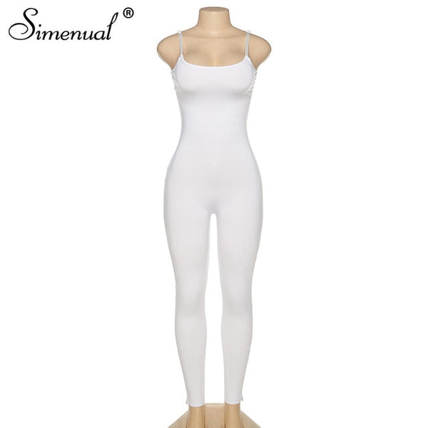 Simenual Strap Casual Bodycon Rompers Womens Jumpsuit Workout Active Wear Sleeveless 2020 Summer Solid Jumpsuits Skinny Fashion