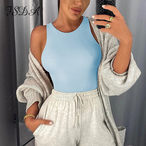 FSDA O Neck Summer Sleeveless Sexy Bodysuit Women 2020 Off Shoulder Body Tops Streetwear Casual White Bodysuits