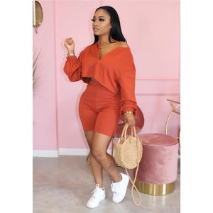 Plus Size Two Piece Set Women Tracksuit V-neck Long Sleeve Top Biker Shorts Sweat Suit 2 Piece Outfits Matching Sets Loungewear