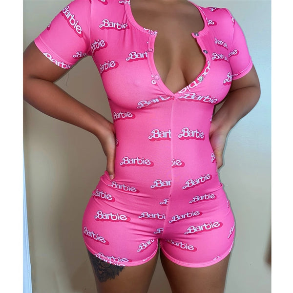 Women Sexy V-Neck Short Sleeve Bodycon Bodysuit Casual Printed Button Sleepwear Jumpsuit Shorts Romper Leotard for Summer