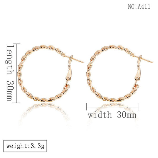 DoreenBeads Fashion Hoop Earrings For Women Based Alloy & Stainless Steel Ear Post Earrings Gold Circle Ring Gift 3cm Dia, 1Pair
