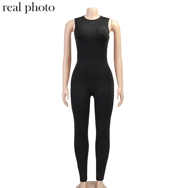Solid Bodycon Sleeveless Jumpsuits