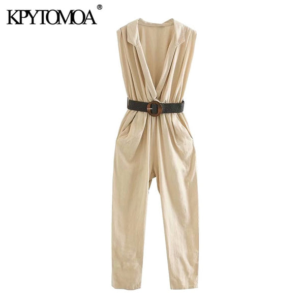 KPYTOMOA Women 2020 Chic Fashion Office Wear With Belt Jumpsuits Vintage V Neck Side Pockets Elastic Waist Female Playsuits
