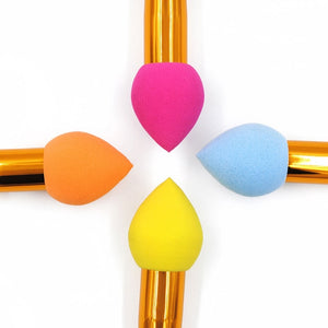 Wooden handle with handle drop sponge puff mushroom head multi-function stereo puff colorful sponge makeup brush