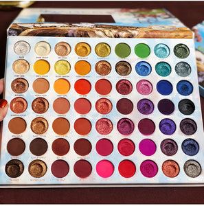 Summer Colorful Eyeshadow Palette 63 Colors Matte Shimmer Blendable Bright Eye Shadow Pallete Silky Powder Pigmented Makeup Kit