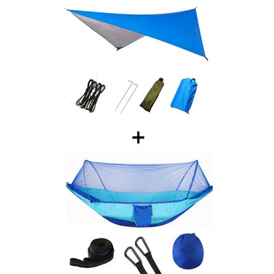 Pop-Up Portable Camping Hammock with Mosquito Net and Sun Shelter,Parachute Swing Hammocks Rain Fly Hammock Canopy Camping Stuff