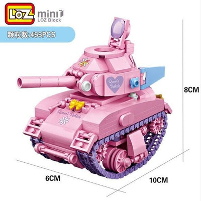 pink tank model Blocks/loques  Building Blocks creative diy girls gift toys for kids Brinquedos