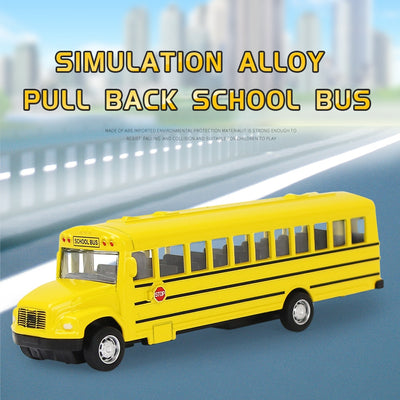 Simulation Alloy Pull Back & Inertia School Bus Car Model Diecast Vehicle Toy