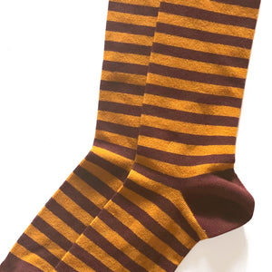 "Chaussettes ""MARIUS"" Moutarde Choco"