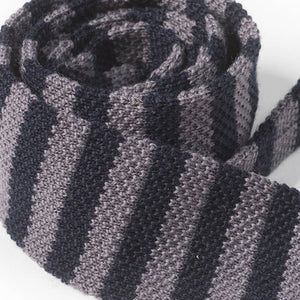 "Cravate Tricot Laine ""SWING"" Marine Gris"