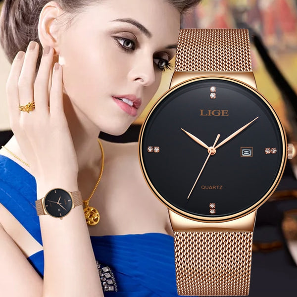LIGE Women Fashion Rose gold black Wrist Watch